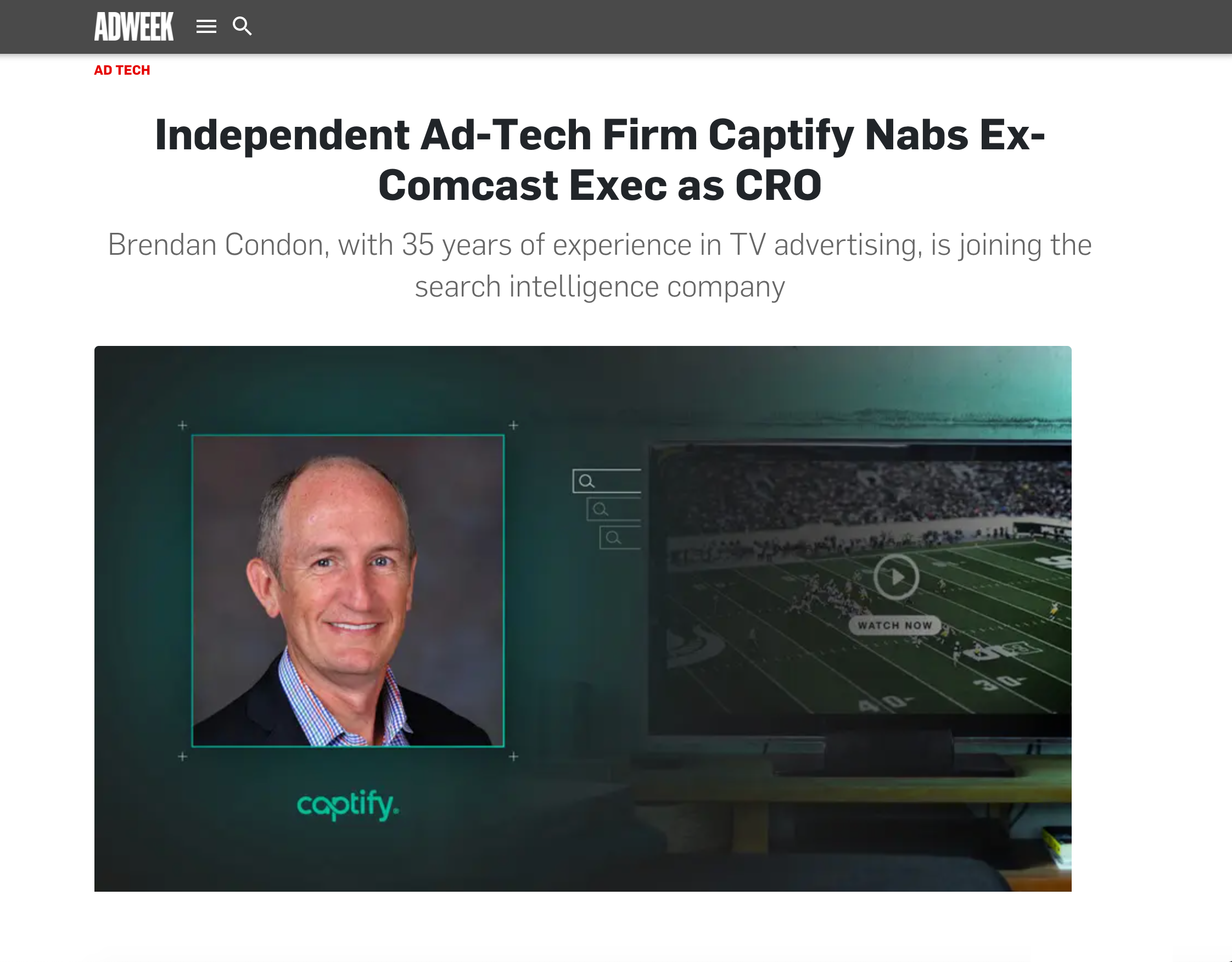 Adweek: Independent Ad-Tech Firm Captify Nabs Ex-Comcast Exec, Brendan Condon as CRO