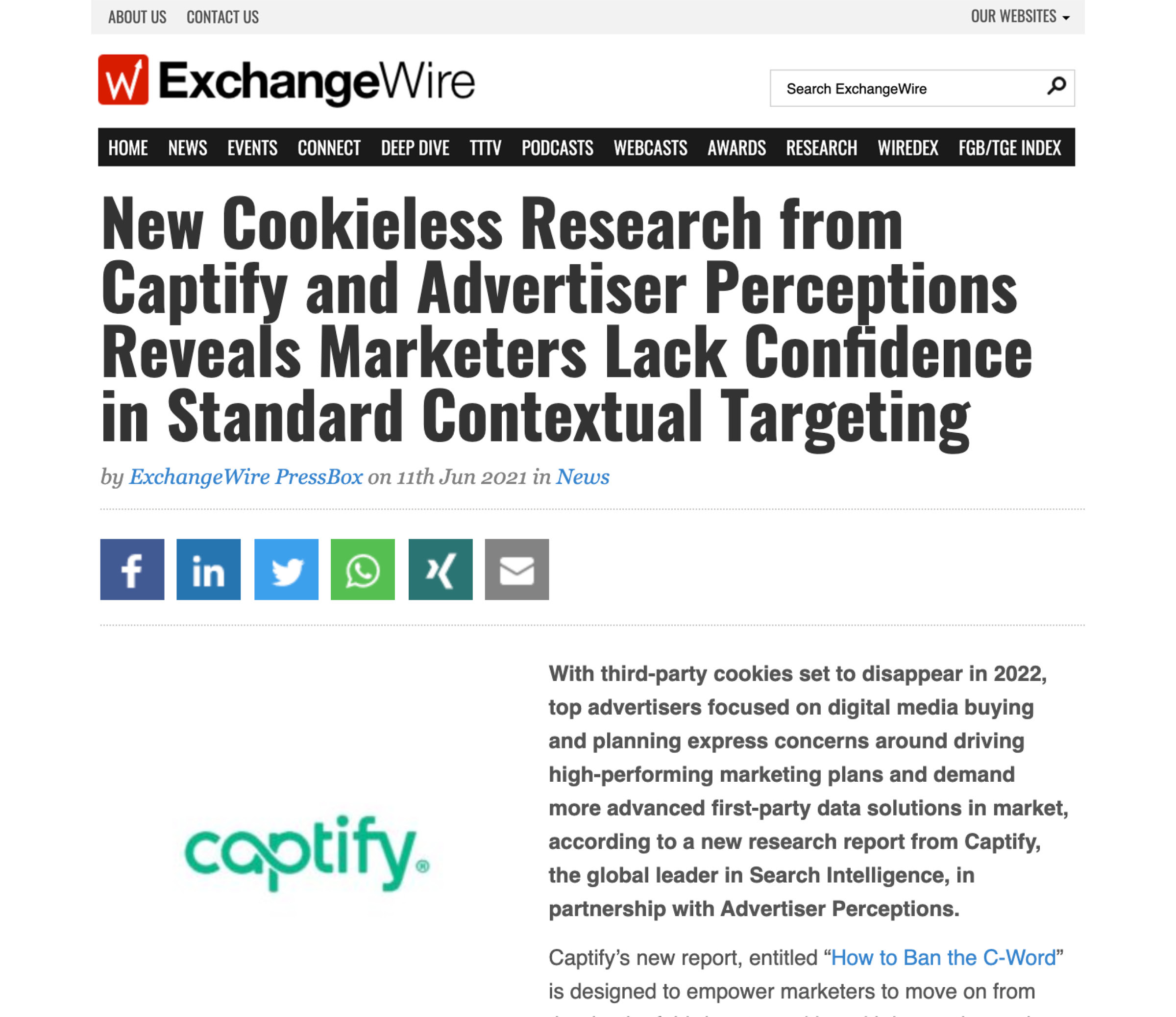 ExchangeWire: New Cookieless Research from Captify and Advertiser Perceptions Reveals Marketers Lack Confidence in Standard Contextual Targeting