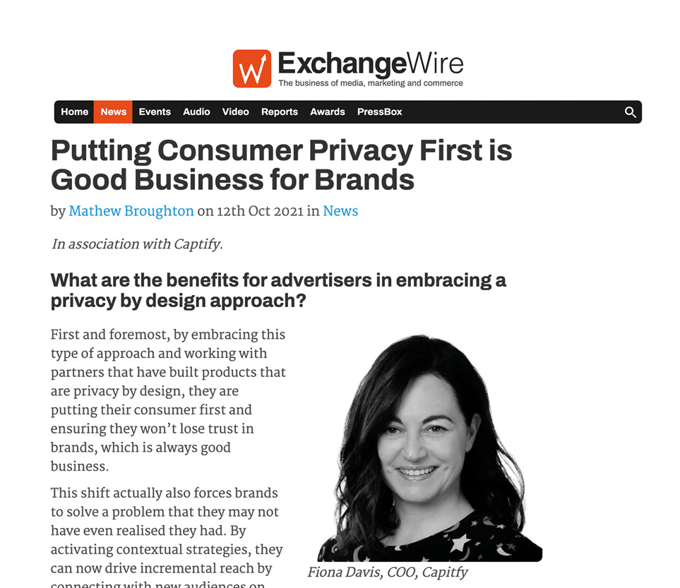 ExchangeWire: Captify's COO, Fiona Davis—Putting Consumer Privacy First is Good Business for Brands